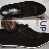 Pantofi / Adidasi Casual HUGO BOSS 100% Piele Intoarsa - Bleumarin / Negru !!!