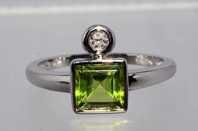 Inel aur 14k cu peridot si diamante (produse noi in stoc) foto