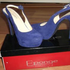Pantofi dama eponge, Marime: 37, Albastru - Pantofi Eponge cu toc si platforma