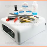 SET UV COMPLET cu lampa si geluri / Kit pt unghii false UV - Gel unghii