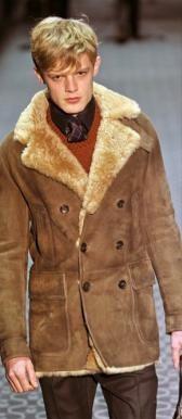 Palton din piele cu captuseala de blana 100% natural, de iarna, pentru barbati, vintage foto mare