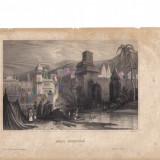 Gravura - Peisaj cu orasul Hurdwar - sec. XIX - Pictor roman, Peisaje, Realism