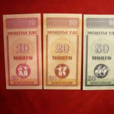 Set 3 Bancnote de 10, 20, 50, MONGOLIA, NC