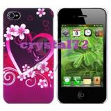 Livrare gratuita! Husa hard case termorezistenta Pink Heart, pentru Iphone 4, 4S, foarte draguta + folie ecran + laveta, calitate