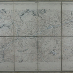 1 -HARTA VECHE MILITARA ELVETIANA 1881 - TIMBRU SEC DREAPTA JOS - FORMATA DIN 8 SEGMENTE PE SUPORT DE PANZA - DIM. 43 X 33 CM, PLIABILA LA 16 X 11 CM
