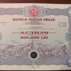 PVM - Banca DACIA FELIX/100 actiuni nominative, valoare nominala 5.000 lei! RAR!, Romania de la 1950