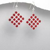 Idee cadou CRACIUN: Cercei din argint 925 in forma de romb cu pietre cristale rosii - Cercei argint