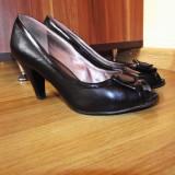 Pantofi negri cu fundita marimea 36 - Pantof dama, Culoare: Negru, Marime: 36.5, Negru