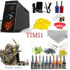Kit Tattoo profesional sursa Efin Power EP1 digitala plus kit de 10 culori+geanta cadou, tatoo, aparat tattoo, tatuat - Masina tatuaje