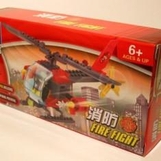 Elicopter pompieri tip lego fire fight, 89 piese, jucarie constructiva, Kazi 8056 - Jocuri Seturi constructie