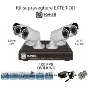 Kit Supraveghere 4 camere exterior CMOS + DVR ICS-REGAL V2 foto