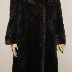 Haina de blana de LAMA de LUX, haina lunga de blana naturala MARO - masura M / L - Palton dama, Negru
