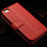 Husa / toc protectie piele iPhone 5, 5s lux, tip flip cover portofel, rosie, Rosu