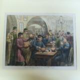 Gravura color soldati rusi intr-o ceainarie din Chisinau 1877 - 1878 - Pictor roman