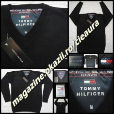 PULOVER NEGRU BARBATI GEN firma TOMMY HILFIGER EXCLUSIVE ANCHIOR NEW EDITION - Pulover barbati Tommy Hilfiger, Marime: M, XL, XXL, Lana