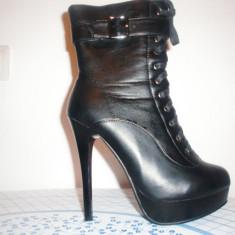 Cizme negre cu toc inalt - Cizme dama, Marime: 39, Culoare: Negru