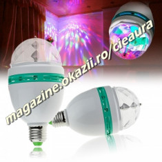 BEC PROIECTOR ROTATIV MULTICOLOR 3 LED ROSU VERDE ALBASTRU RGB E27 FULL COLOR ROTATING LAMP DJ PARTY PETRECERI CLUBURI TERASE BARURI DISCO EVENIMENTE - Echipament DJ