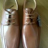 Pantofi cu siret barbati - Pantofi barbati, Marime: 38.5, Culoare: Coniac