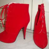 Botine pumps rosii, marimea 39 - Botine dama, Culoare: Rosu