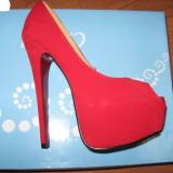 Pantofi dama, Marime: 36, Rosu - Pantofi rosu aprins