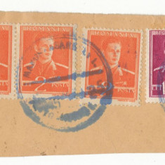 Timbre Romania - RFL 1944 ROMANIA Transilvania de Nord fragment plic stampila bilingva Tg Mures