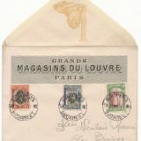 Timbre Romania, An: 1917, Stampilat - RFL 1917 Romania ocupatia bulgara, plic suvenir frumos cu 3 timbre supratiparite