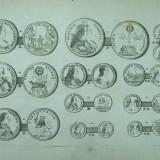 Colectii - Gravura circa 1820 monede Ungaria Imparateasa Maria Tereza Imparatul Francisc I Arhiducii Austriei Ferdinand si Maximilian