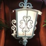 Lampadar, lampa, felinar de perete din fier forjat