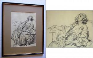 Jean Baptiste Greuze (1725 -1805) - Tanara femeie sezand, maniere au crayon foto