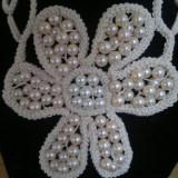 Colier Unicat crosetat cu perle in 2 culori - Colier perle