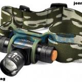 Lanterna Frontala POWER LIGHT Mini CREE Q5 cu ZOOM si Acumulator + HUSA