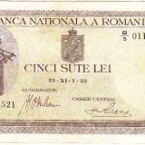 Bancnota 500 lei 1940, varianta mai RARA cu filigran orizontal, VF