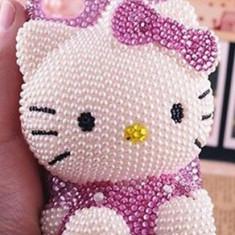 Husa IPHONE 4, 4S Hello Kitty Handmade. - Husa Telefon Apple, iPhone 4/4S, Alb, Plastic, Carcasa