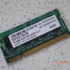 Memorie RAM laptop Apacer - 512 MB / PC2-3200 CL3, DDR2, 667 mhz, Dual channel