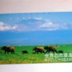 Cartela telefonica Japonia - NATURA, FAUNA, ANIMALE, ELEFANTI - 2+1 gratis toate licitatiile - RBK2362 - Cartela telefonica straina
