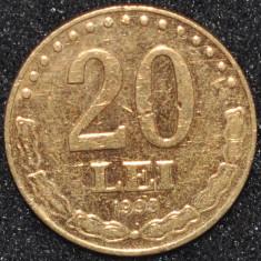 Monede Straine - ROMANIA 20 LEI 1993 PLACATA CU AUR (IN REALITATE ARATA MULT MAI BINE)