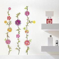 Sticker - autocolant decorativ pentru perete, 3 coloane flori