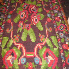 Covor vechi tesut manual din lana, macat tesut la razboi 2, 10 m x 1, 4 m