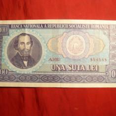 Bancnote Romanesti - Bancnota 100 Lei 1966, cal.F.Buna