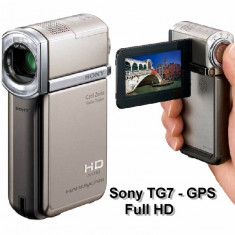 Camera Video SONY HDR TG7 Full HD cea mai compacta din lume GPS Dolby 5.1 carcasa TITANIUM pur NOUA, Card Memorie