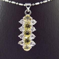 Lantisor cu Pandantiv pietre de Topaz Placat Aur Alb 18k - GPN1078 - Lantisor placate cu aur, Femei