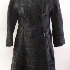 Palton dama - Haina blana naturala nutrie sau nurca, neagra, ff lucioasa, parte peste parte, guler inalt,