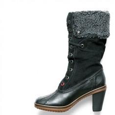 Cizme dama - Cizme iarna imblanite din piele + textil marca PAJAR femei, noi, model Gretta, culoare neagra, marimea 36.5