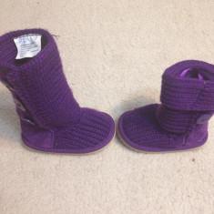 Cizme copii - Cizme mov tricotate cu piele intoarsa gen ugg, 19 20
