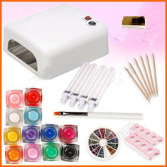 Lampa uv unghii BeautyUkCosmetics - KIT MANICHIURA SET UNGHII FALSE GEL UV, 12 GELURI COLOR LAMPA+ 4 NEOANE