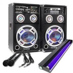 SISTEM 2 BOXE ACTIVE/AMPLFICATE CU MIXER INCLUS, MP3 PLAYER STICK SI CARD, ORGA LUMINI DUPA SUNET, RADIO+2 MICROFOANE BONUS+NEON DISCO UV LUMINA ALBASTRA