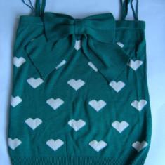 TOP tricotat verde smarald imprimeu inimioare funda aplicata BLANCO NOU mas S-M - Top dama Zara, Universala, Fara maneca, Bumbac