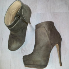 Botine dama - Botine - pantofi Zara cu platforma ascunsa / gri / marimea 36
