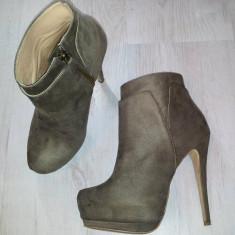 Botine - pantofi Zara cu platforma ascunsa / gri / marimea 36 - Botine dama