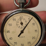 CRONOMETRU mecanic rusesc, nefunctional, vechi, fara sticla, calibru 4285, 15 rubine, marca AGAT!